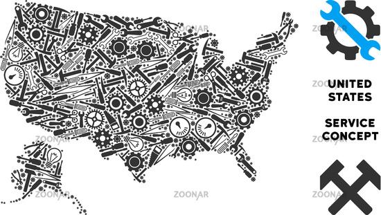 Foto Collage USA With Alaska Map of Repair Tools Bild #12255407