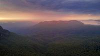 Beautiful sunrise over Jamison Valley. Australia