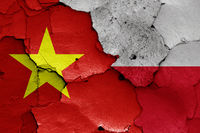 flags of Vietnam and Poland painted on cracked wall