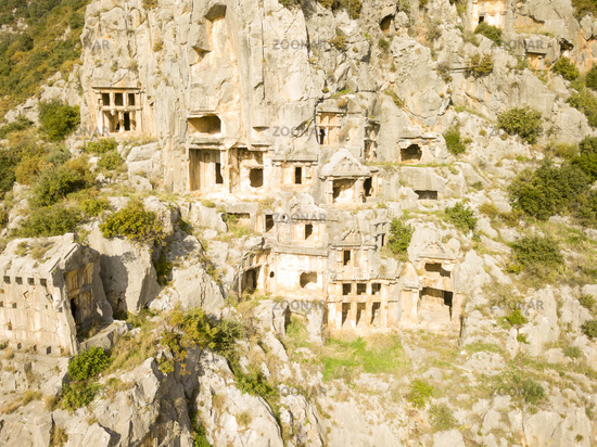 Drone View Rock-Cut Tomb Cliff Face Myra Turkey