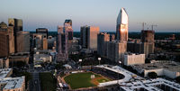 Aerial View Long Panoramic Shot of Charlotte North Carolina Downtown