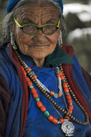 LADAKH, INDIA, July 2018, An old woman in traditional attire.