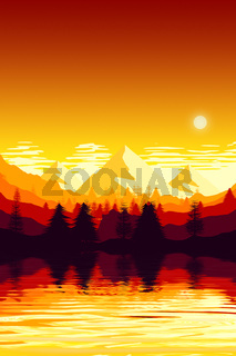 mountain landscape scenery sunset