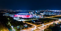 Night Aerial view of a freeway intersection and football stadium Spartak Moscow Otkritie Arena