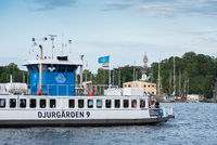 Djurgarden ferry number 9 route 82 with LGBT flag