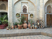 traditional colorful uzbek cobbled courtyard
