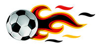soccer ball on fire with germany flag. illustration