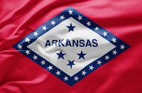 Waving state flag of Arkansas - United States of America