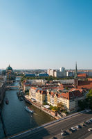 Aerial view on historic city district (Nikolaiviertel), river Spree and Berlin Cathedral