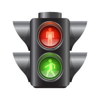 Realistic traffic lights for pedestrians - vector illustration
