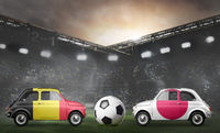 Belgium and Japan cars on football stadium