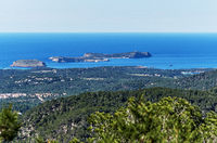 Rocky coastline of Ibiza Island. Balearic Islands. Spain