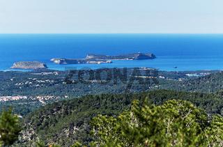 Rocky coastline of Ibiza Island. Balearic Islands. Spain
