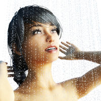Digital 3D Rendering of a Woman in a Shower