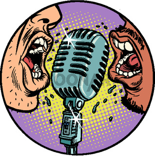 Black and white man vintage retro microphone. Music standup concert radio podcast blog