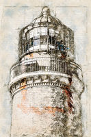 Digital artistic Sketch of a Lighthouse on Darss in Germany