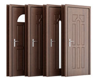 four wooden doors isolated on white background. 3d illustration
