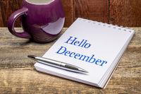 Hello December text in sketchbook
