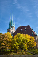 Erfurt Cathedral in Autumn on a bright day