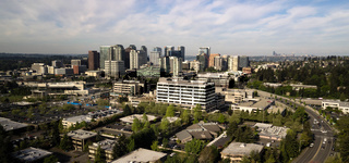 Birds Eye View Bellevue Washington City Skyline Seattle in Background
