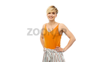 happy smiling young woman over white background
