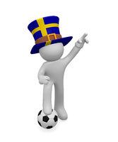 Swedish soccer fan with soccer ball