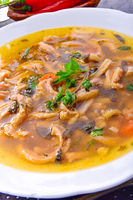 Traditional tripe soup in polish style with beef and vegetables