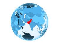 Pakistan on blue globe isolated