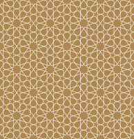 Seamless arabic geometric ornament in white color and brown background.