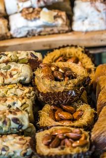 Almond and pistachio baklava snacks