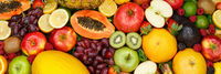 Fruits collection food background banner apples oranges lemons fresh fruit