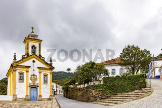 Ancient historical church and streets in the city of Ouro Preto