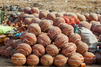 Clay pots in India at the fair