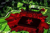 Digital Plague, hacking and virus technology concept