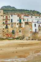 Buildings on the beach in Cefalu