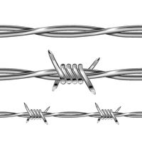 Set of glossy realistic metal barbed wire elements on white
