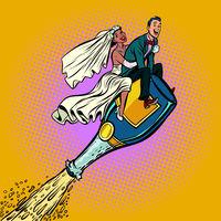 Bride and groom wedding. Inter-ethnic couple. Flying on a bottle
