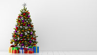 decorated christmas tree with gift boxes in white room. 3d illustration