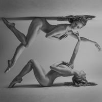 duality concept, classic ballet dancer lying down with elegant and delicate poses