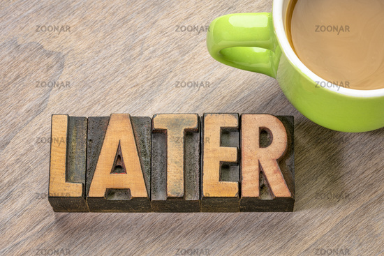 later word abstract in wood type