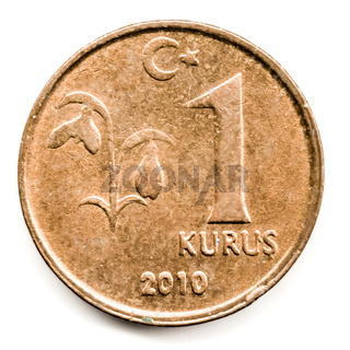 Old Turkish Coin on White Background, 1 Kurus, 2010