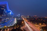 Night aerial view of Chengdu new century global center