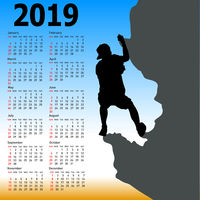 Stylish calendar with silhouette rock climber on against the blue sky for 2019