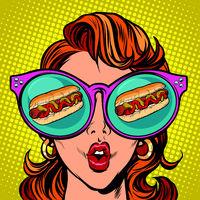 hot dog sausage ketchup mustard. Woman reflection in glasses