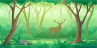 Forest landscape background with trees and deer silhouette in flat style