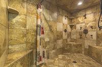 Wide open walk-in shower in luxury home