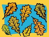 modern autumn oak leaf design in bold colors
