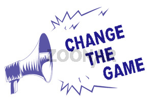 Word writing text Change The Game. Business concept for Make a movement do something different new strategies Purple megaphone loudspeaker important message screaming speaking loud.