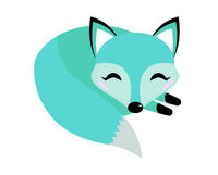 Blue fox icon flat style. Logo concept element. Vector illustration
