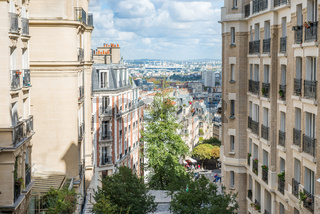 View from Monmartre street to Paris